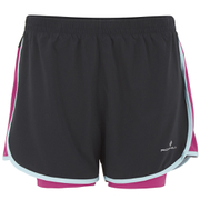 RonHill Women's Aspiration Twin Shorts - Black/Cerise Pink