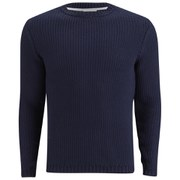 American Vintage Men's Round Neck Textured Knitted Jumper - Navy
