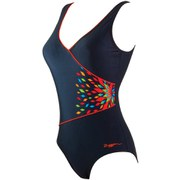 Zoggs Women's Neon Tribal Wrap Front Swimsuit - Black/Multi