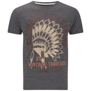 Soul Star Men's Mt Chieftans Printed T-Shirt - Charcoal Mel