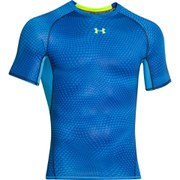 Under Armour Men's Armour Heat Gear Printed Short Sleeve Training T-Shirt - Blue Jet/High-Vis Yellow