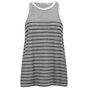 T by Alexander Wang Women's Stripe Jacquard Crew Neck Tank - Charcoal