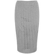 T by Alexander Wang Women's Circular Hole Jacquard Jersey Skirt - Heather Grey
