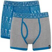 Crosshatch Men's Squint 2-Pack Boxer Shorts - Mykonos Blue/Grey Marl