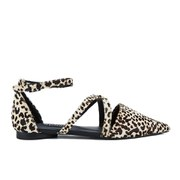 Senso Women's Gabriel III Leopard/Pony Pointed Multi Strap Flat Sandals - Latte