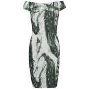 Lavish Alice Women's Marble Print Midi Dress - Grey