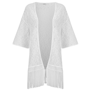 ONLY Women's Fringa 3/4 Kimono - Cloud Dancer - Multi