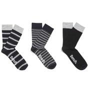 Bench Men's 3-Pack Striped Socks - Grey/Black