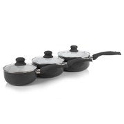 Cook In Colour Ceramic Non-Stick 3 Piece Pan Set - Black