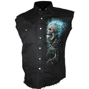 Spiral Men's FLAMING SPINE Sleeveless Stone Washed Worker Shirt - Black