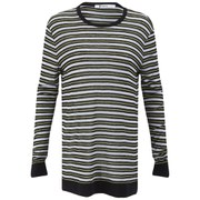 T by Alexander Wang Women's Stripe Rayon Linen Long Sleeve T-Shirt - Black Multi