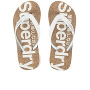 Superdry Women's Cork Flip Flops - White Metallic