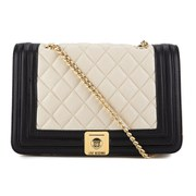 Love Moschino Women's Quilted Cross Body Bag - Black/Ivory