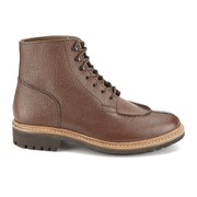 Grenson Men's Glover Leather Lace Up Boots - Dark Brown Grain