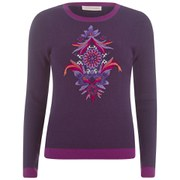 Matthew Williamson Women's Embroidered Waffle Knit Jumper - Grape