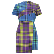 House of Holland Women's Cross Over Tartan Dress - Blue/Purple/Tartan