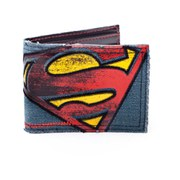 DC Comics Superman Vintage Distressed Logo Bi-Fold Denim Wallet