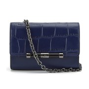 Diane von Furstenberg Women's 440 Micro Mini Embossed Croc Cross Body Bag - Dark Night