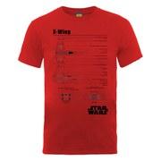 Star Wars Men's X-Wing Blueprint T-Shirt - Red