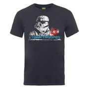 Star Wars Men's Stormtrooper Head Distressed T-Shirt - Charcoal