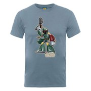 Star Wars Men's Boba Fett Character T-Shirt - Steel Blue
