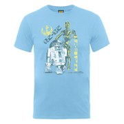 Star Wars Men's C-3PO and R2-D2 Distressed T-Shirt - Sky