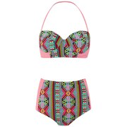 South Beach Women's Multi Geo Print High Rise Bikini - Multi