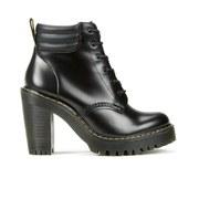 Dr. Martens Women's Seirene Persephone 6-Eye Padded Collar Heeled Boots - Black