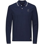 Jack & Jones Men's Core Thom Long Sleeve Polo Shirt - Dress Blue