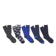 Jack & Jones Men's Adam 5 Pack Socks - Blue