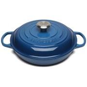 Le Creuset Signature Cast Iron 26cm Shallow Casserole Dish, 2L - Marseille Blue