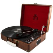GPO Attache Briefcase Style Three-Speed Portable Vinyl Turntable with Free USB Stick and Built-In Speakers - Vintage Brown