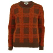YMC Women's Check Knitted Crew Neck Jumper - Brown