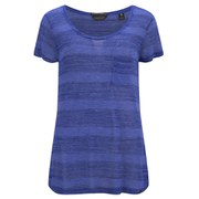 Maison Scotch Women's Engineered Striped Jersey T-Shirt - Blue
