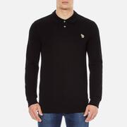 Paul Smith Jeans Men's Basic Long Sleeve Pique Zebra Polo Shirt - Black