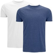 Brave Soul Men's Vardan 2 Pack T-Shirt - Blue/White