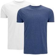 Brave Soul Men's Vardan 2 Pack T-Shirt - Blue/White