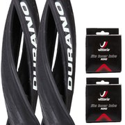 Schwalbe Durano Clincher Road Tyre Twin Pack with 2 Free Inner Tubes - Black 700c x 25mm