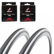 Vittoria Open Corsa CX Clincher Road Tyre Twin Pack with 2 Free Inner Tubes - Black/White 700c x 23mm