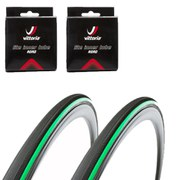 Vittoria Open Pave CG Clincher Road Tyre Twin Pack with 2 Free Inner Tubes - Black/Green - 700c x 25mm