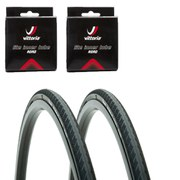 Vittoria Rubino Pro Clincher Road Tyre Twin Pack with 2 Free Tubes - Black 700c x 25mm
