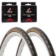 Continental Gatorskin Clincher Road Tyre Twin Pack with 2 Free Tubes - Black 700c x 25mm