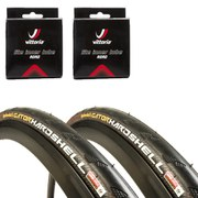 Continental Gatorskin Hardshell Clincher Road Tyre Twin Pack with 2 Free Tubes - Black 700c x 23mm