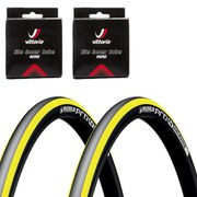 Michelin Pro4 Endurance V2 Clincher Road Tyre Twin Pack with 2 Free Inner Tubes - Yellow - 700 x 23c