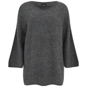 VILA Women's Loose Knitted Pocket Jumper - Medium Grey Melange