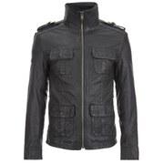 Superdry Men's New Brad Hero Leather Jacket - Black