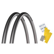 Michelin Pro4 Service Course V2 Clincher Tyre Twin Pack with Free Puncture Repair Kit - Black - 700 x 23c