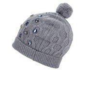 Markus Lupfer Women's Cable Knitted Jewel Beanie Hat - Grey