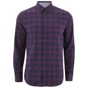 Tommy Hilfiger Men's Ray Herringbone Long Sleeve Shirt - Burgundy