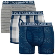 Crosshatch Men's Blogo Printed 3 Pack Boxers - Mood Indigo